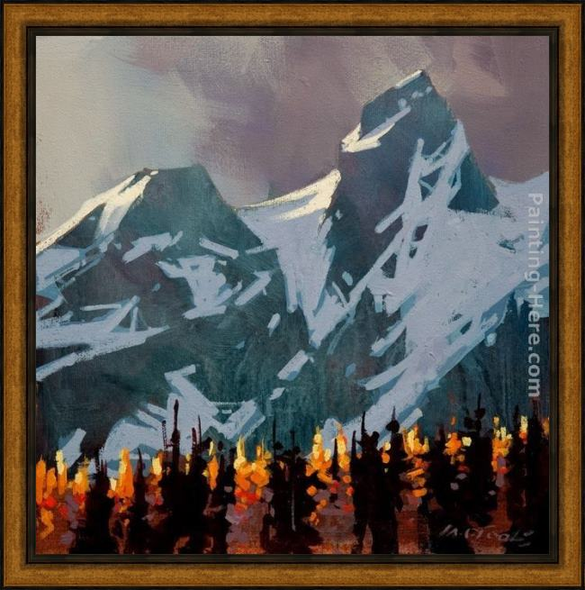 Framed Michael O'Toole light peaks, tantalus range painting