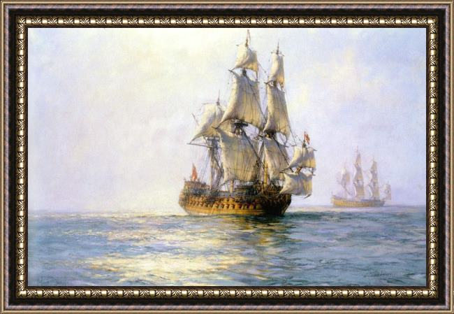 Framed Montague Dawson the royal charles on sunlit waters painting