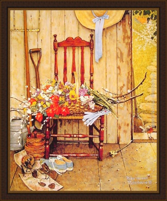 Framed Norman Rockwell spring flowers painting