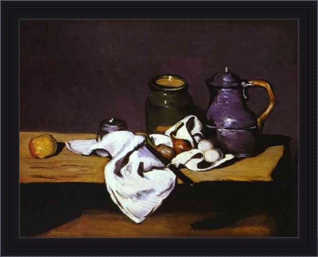 Framed Paul Cezanne still life with kettle painting
