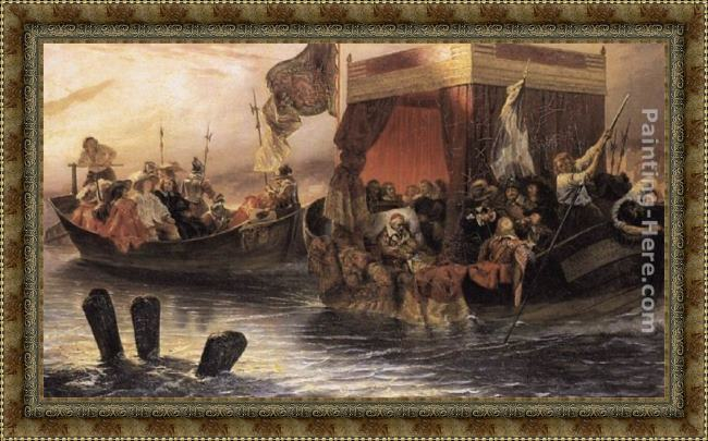 Framed Paul Delaroche the state barge of cardinal richelieu on the rhone painting