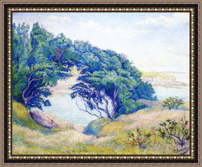 Framed Paul Ranson by the sea, brittany painting