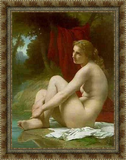 Framed Pierre-Auguste Cot a bather painting