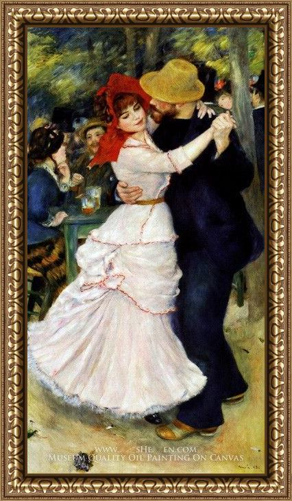 Framed Pierre Auguste Renoir dance at bougival i painting