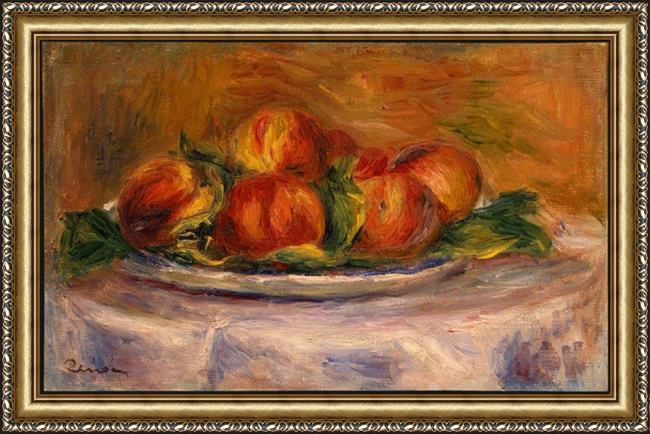 Framed Pierre Auguste Renoir peaches on a plate painting