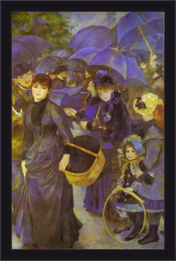 Framed Pierre Auguste Renoir the umbrellas painting