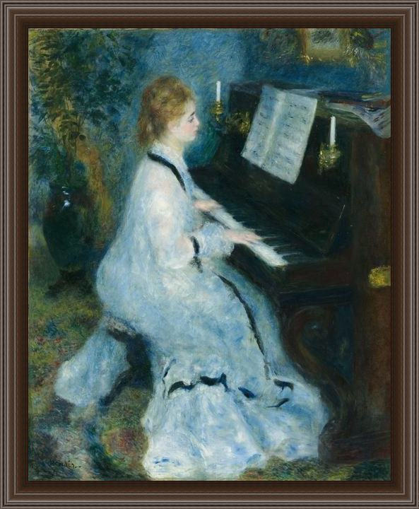 Framed Pierre Auguste Renoir woman at the piano painting
