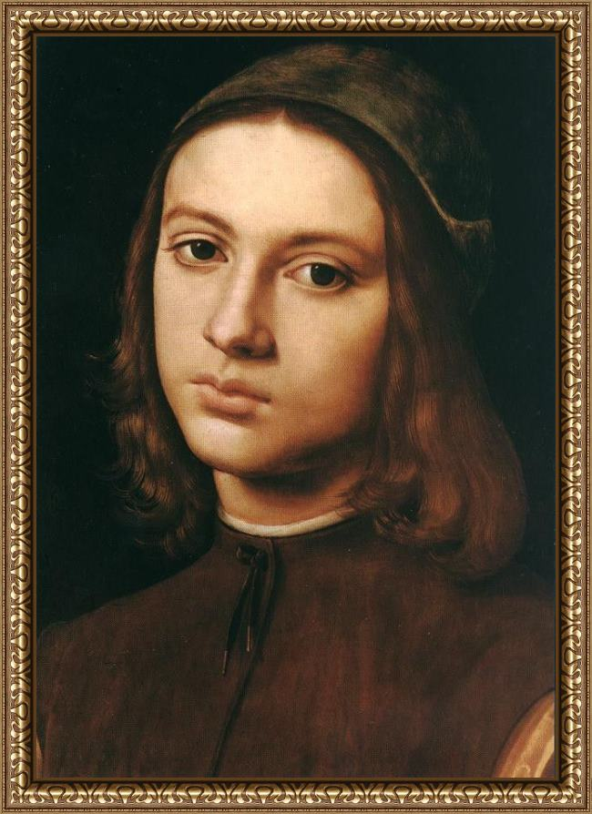 Framed Pietro Perugino portrait of a young man (detail) painting