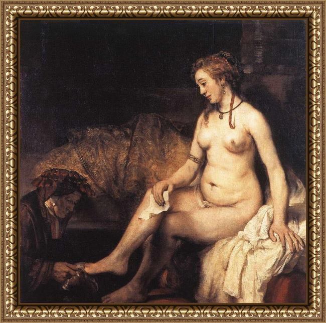 Framed Rembrandt bathsheba at her bath painting