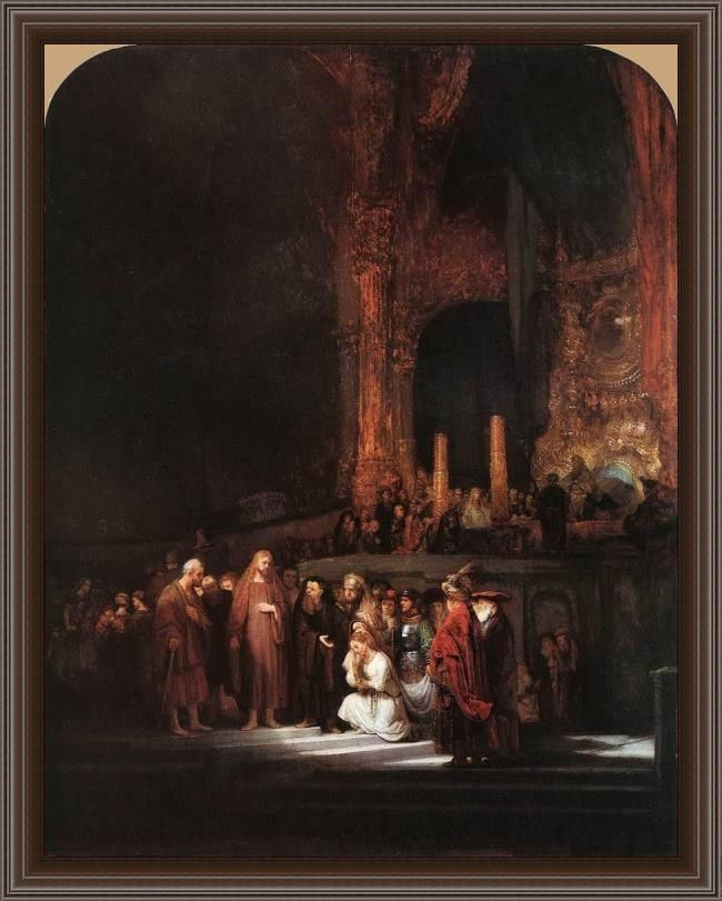 Framed Rembrandt christ and the woman taken in adultery painting