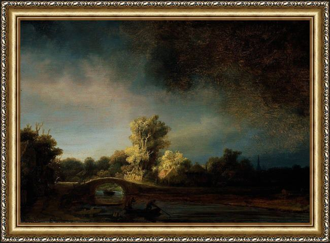 Framed Rembrandt the stone bridge painting