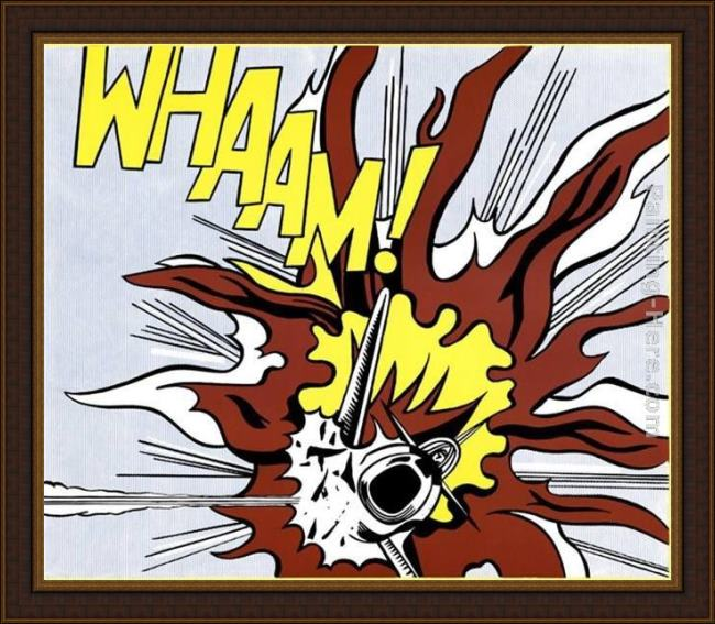 Framed Roy Lichtenstein whaam! ii painting