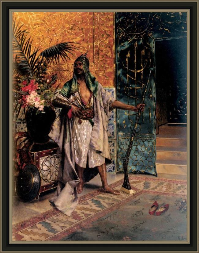 Framed Rudolf Ernst harem guard painting