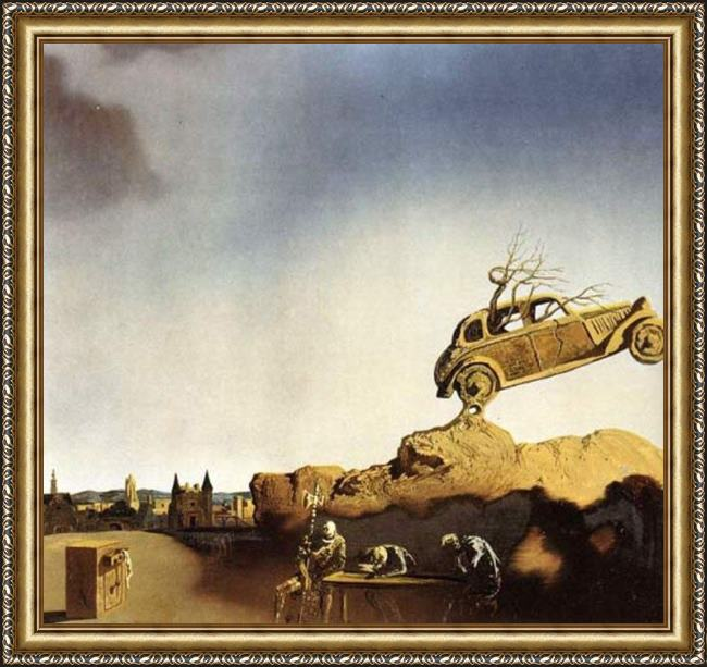 Framed Salvador Dali apparition of the town of delft painting