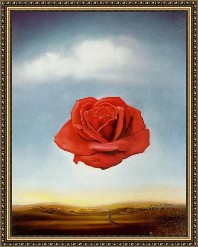 Framed Salvador Dali meditative rose painting
