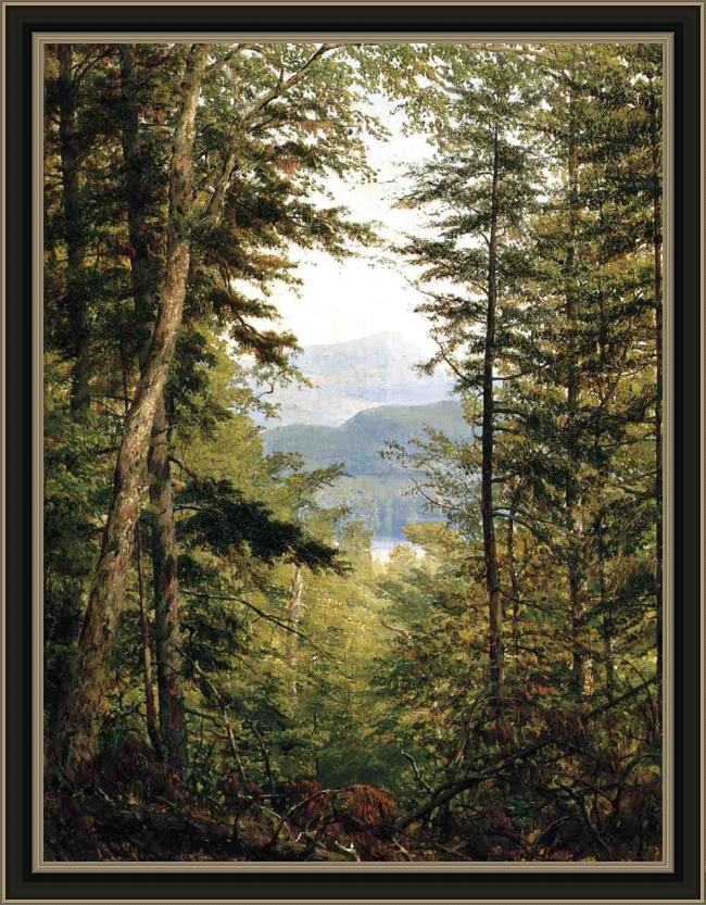 Framed Sanford Robinson Gifford a sketch on the huntington river, vermont painting