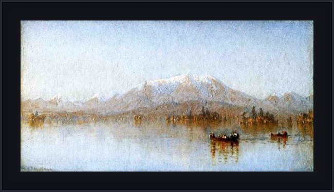 Framed Sanford Robinson Gifford mount katahdin from lake millinocket painting