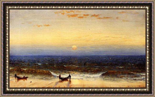Framed Sanford Robinson Gifford sunrise, long branch, new jersey painting