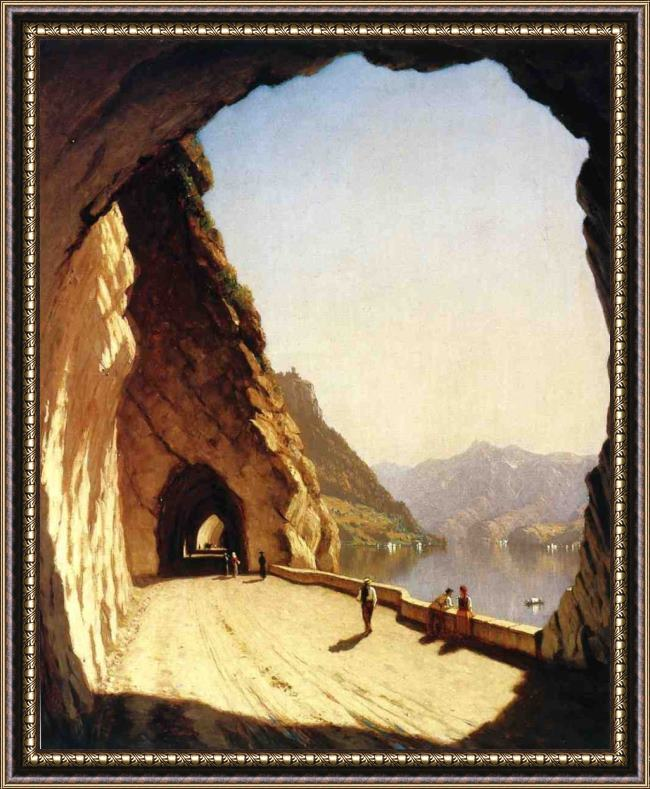 Framed Sanford Robinson Gifford the galleries of the stelvio, lake como painting