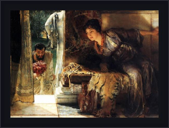 Framed Sir Lawrence Alma-Tadema welcome footsteps painting