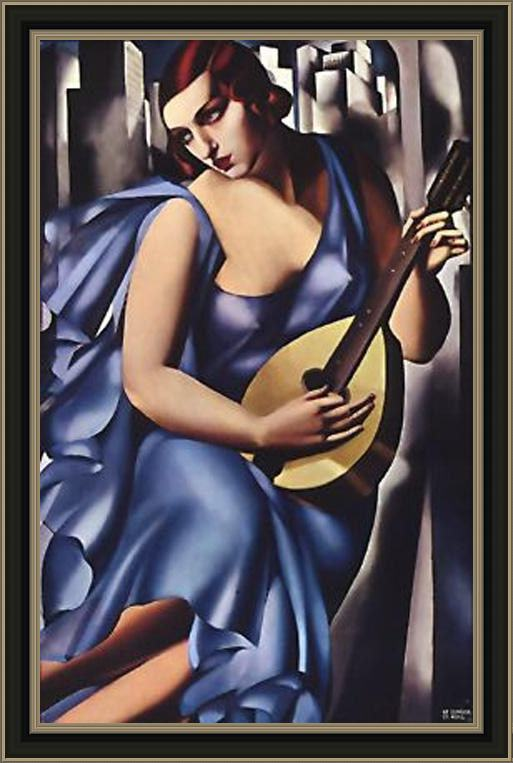 Framed Tamara de Lempicka the musician in blue painting
