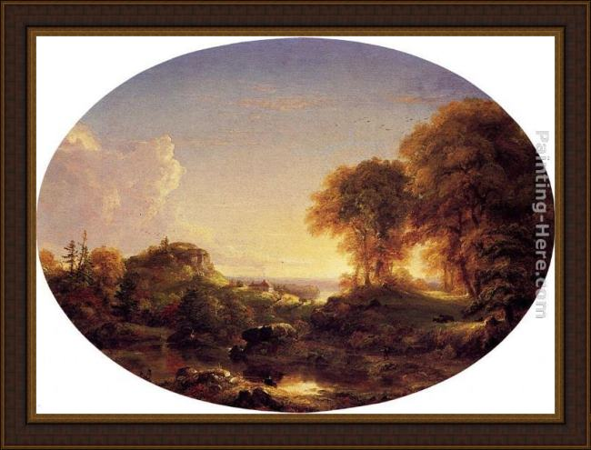 Framed Thomas Cole catskill landscape painting