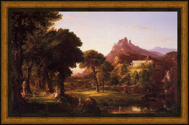 Framed Thomas Cole dream of arcadia painting