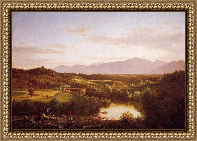 Framed Thomas Cole river in the catskills painting