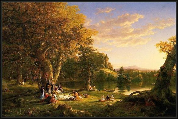 Framed Thomas Cole the picnic painting