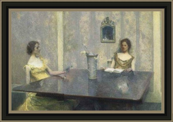Framed Thomas Dewing a reading painting
