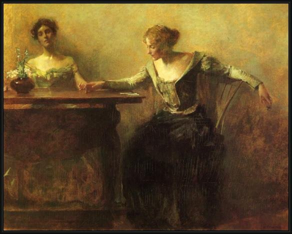 Framed Thomas Dewing the fortune teller painting