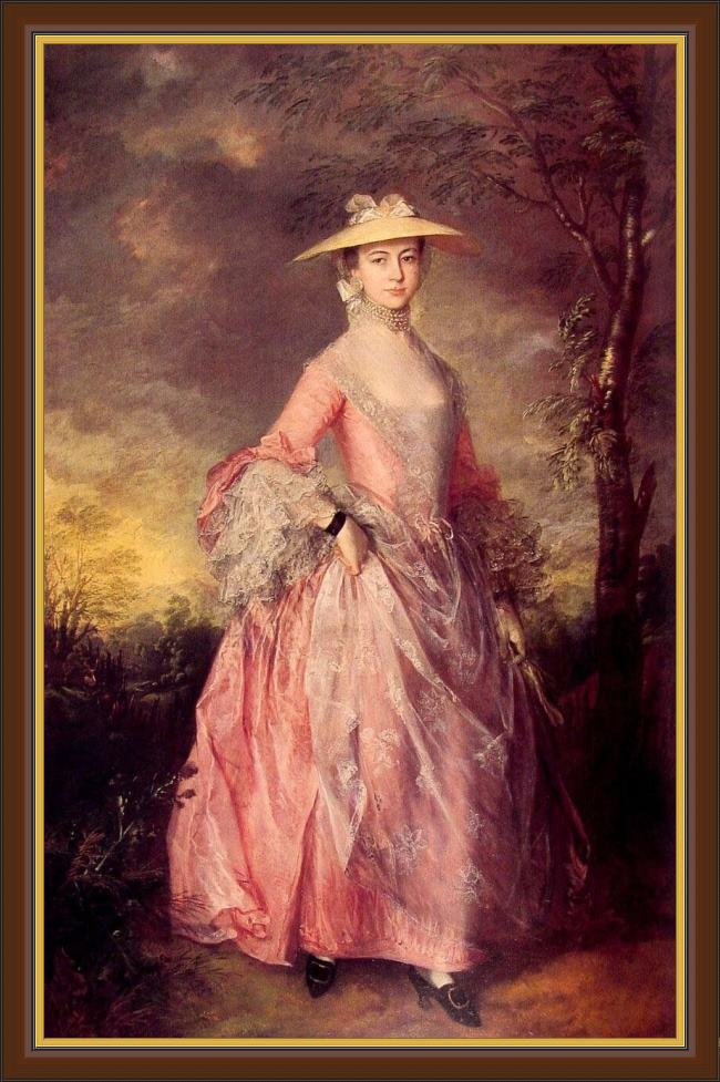 Framed Thomas Gainsborough mary countess of howe painting