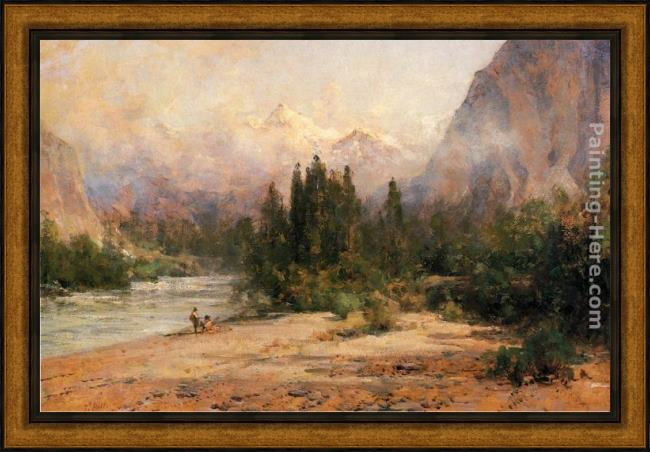 Framed Thomas Hill bow river gap at banff, on canadian pacific railroad painting