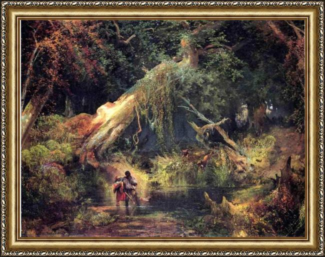 Framed Thomas Moran slave hunt, dismal swamp, virginia painting
