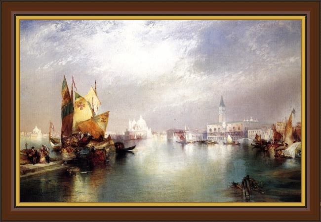 Framed Thomas Moran the splendor of venice painting
