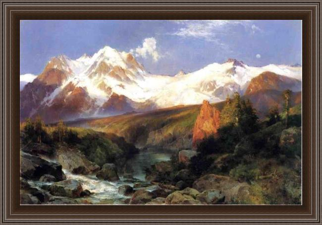 Framed Thomas Moran the teton range painting