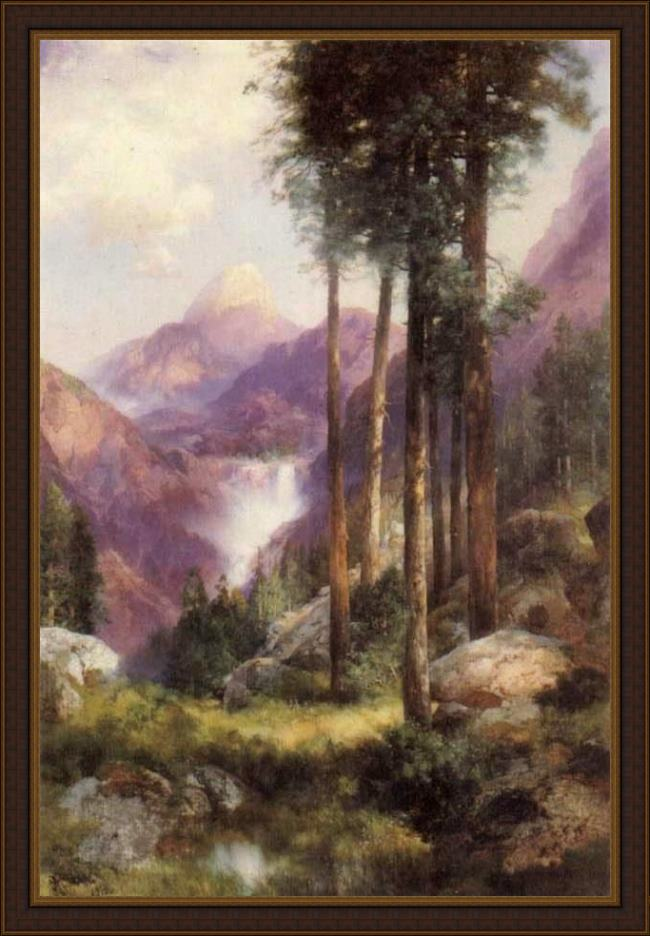 Framed Thomas Moran yosemite valley vernal falls painting