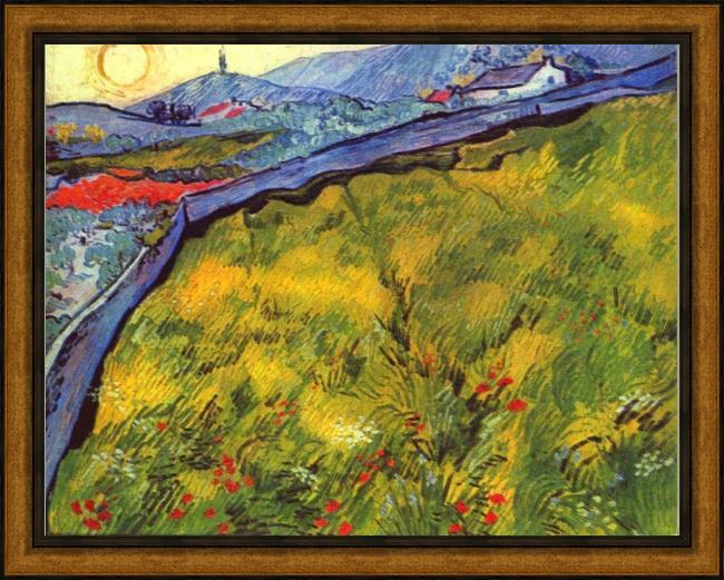 Framed Vincent van Gogh field of spring wheat at sunrise painting