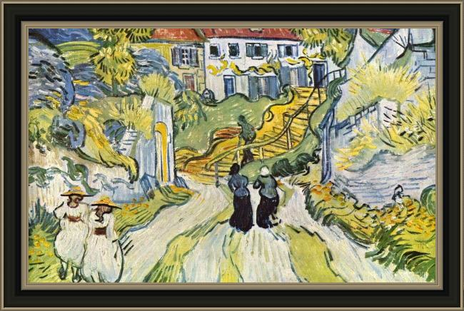 Framed Vincent van Gogh stairway at auvers painting
