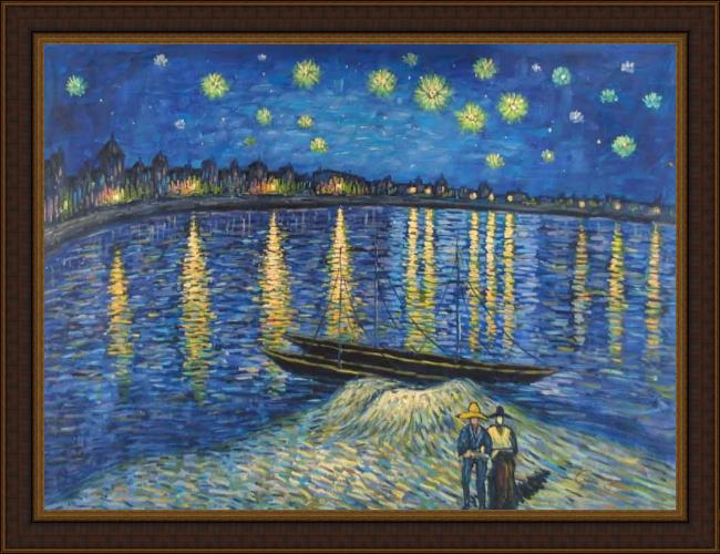 Framed Vincent van Gogh starry night over the rhone 2 painting
