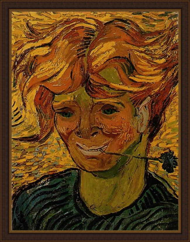 Framed Vincent van Gogh young man with a corflower painting