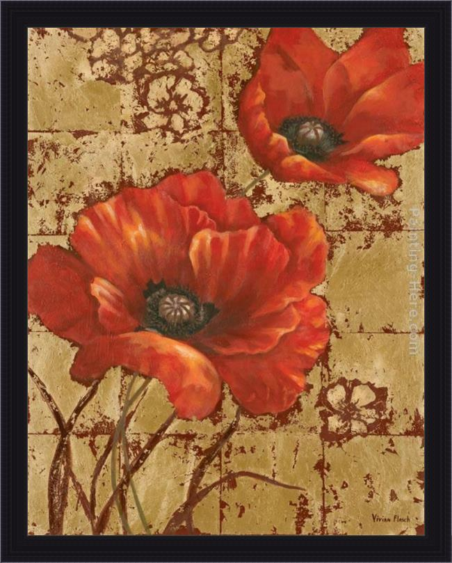 Framed Vivian Flasch poppies on gold i painting