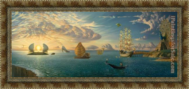Framed Vladimir Kush mythology of the oceans and heavens painting