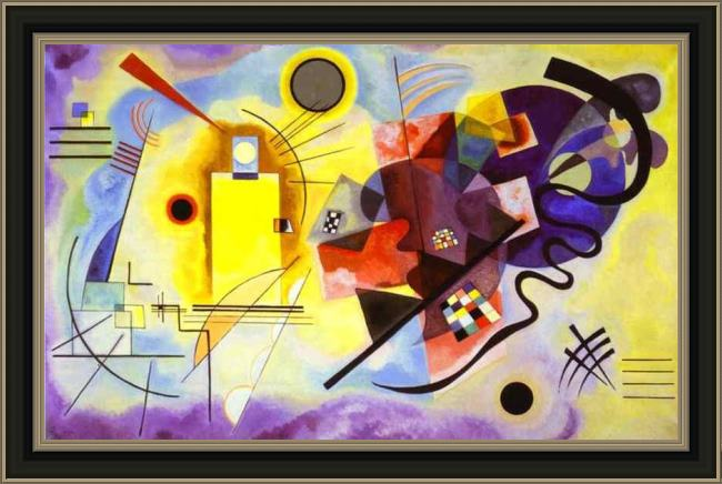 Framed Wassily Kandinsky yellow red blue painting