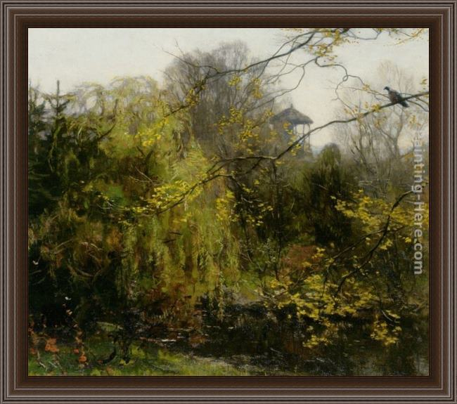 Framed Willem Bastiaan Tholen a view of a park painting