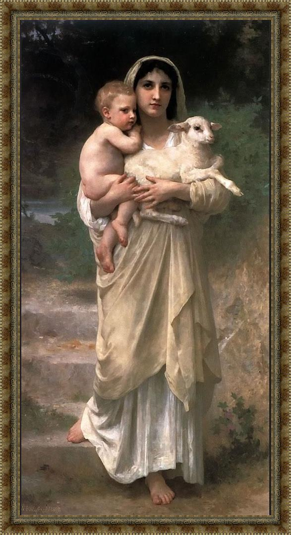 Framed William Bouguereau lambs painting