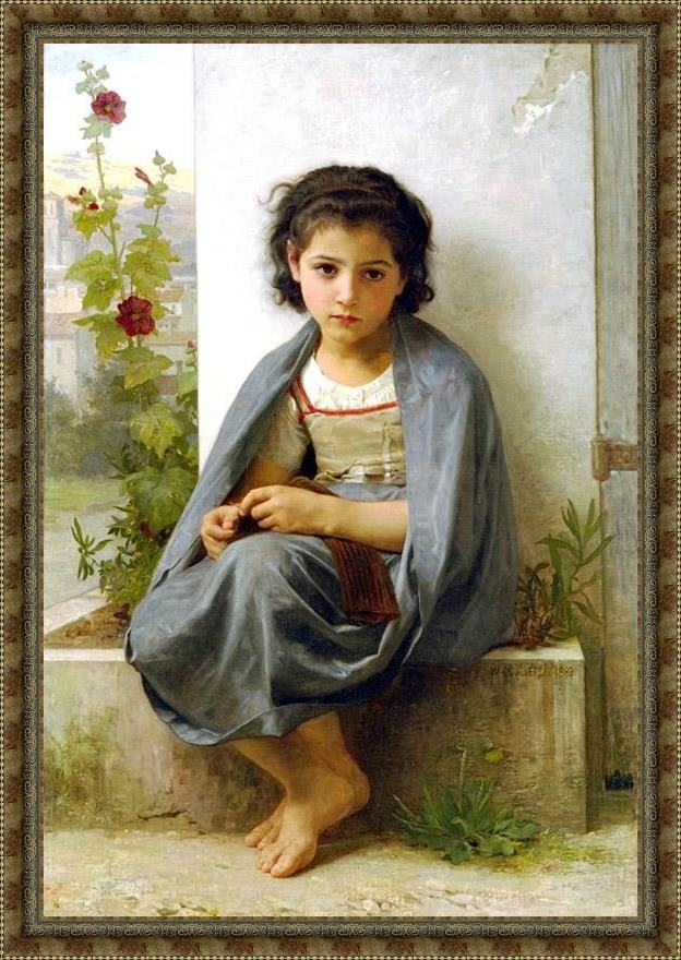 Framed William Bouguereau the little knitter painting