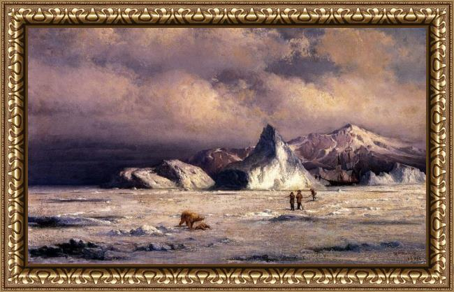 Framed William Bradford arctic invaders painting