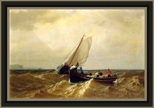 Framed William Bradford fishing boat in the bay of fundy painting