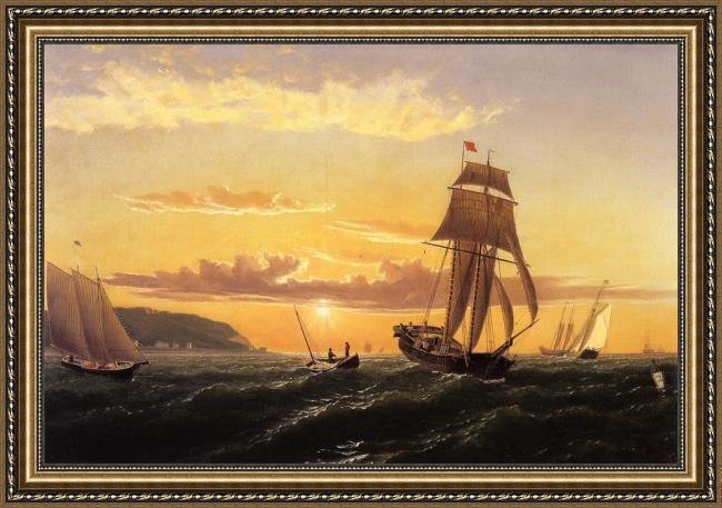 Framed William Bradford sunrise on the bay of fundy painting